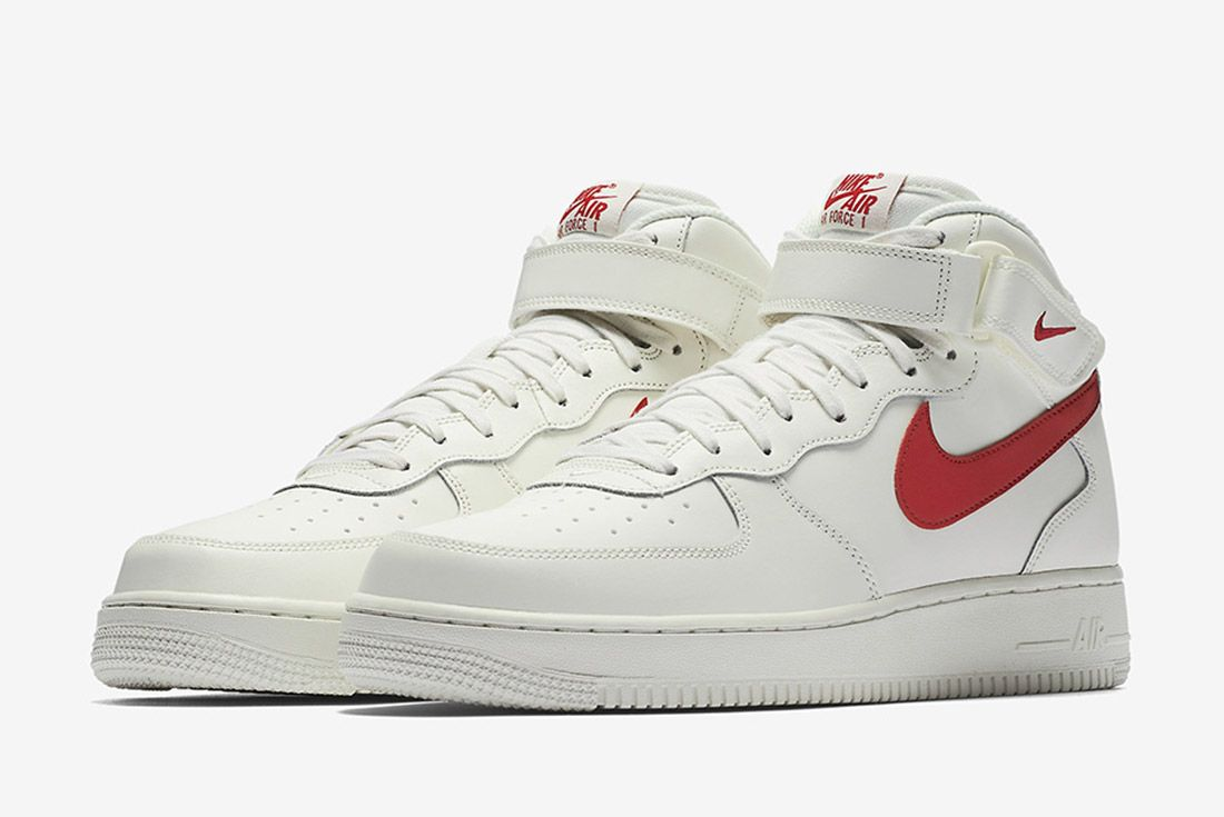 Nike Air Force 1 Mid 07 Sail University Red 6