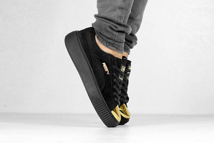 Puma Suede Platform Gold White Black Wmns On Feet 7