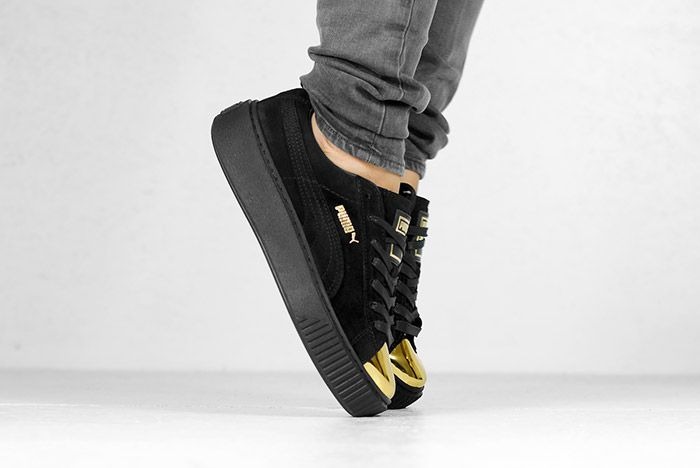 Puma Suede Platform Gold White Black Wmns On Feet 7
