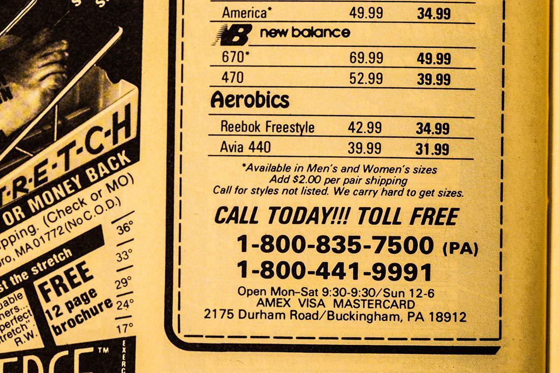 Runners World 1985 Phone Orders