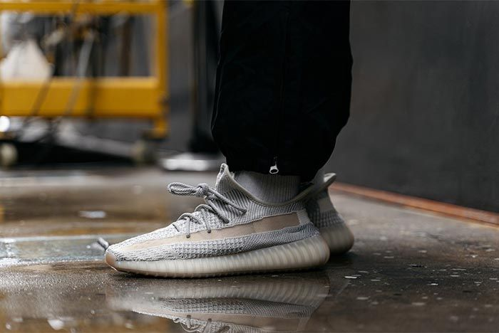 Adidas Yeezy Boost 350 V2 Reflective Lundmark On Foot Angled Lateral Side Shot