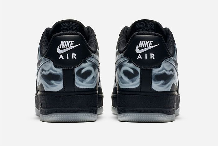 Nike Air Force 1 Black Skeleton Heel