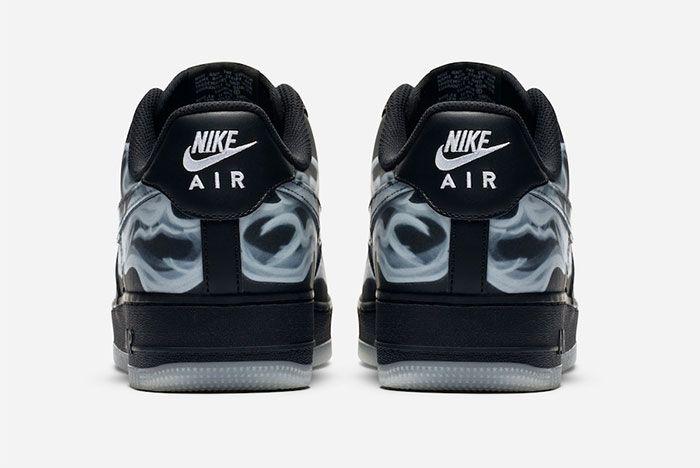 Nike Air Force 1 Black Skeleton Heel