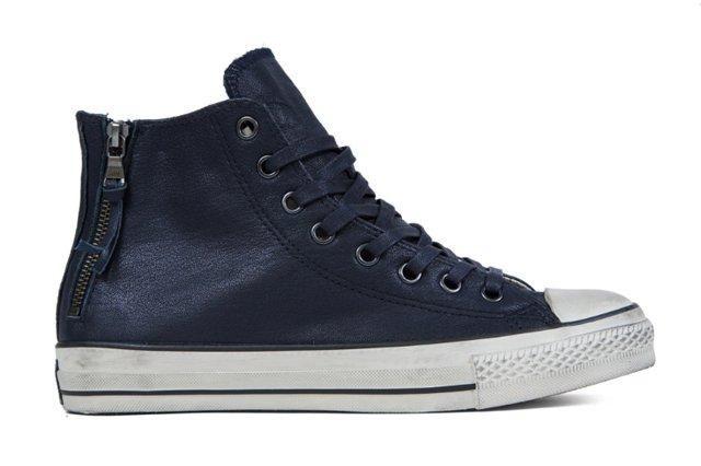 John Varvatos X Converse Leather Double Zip High Navy4