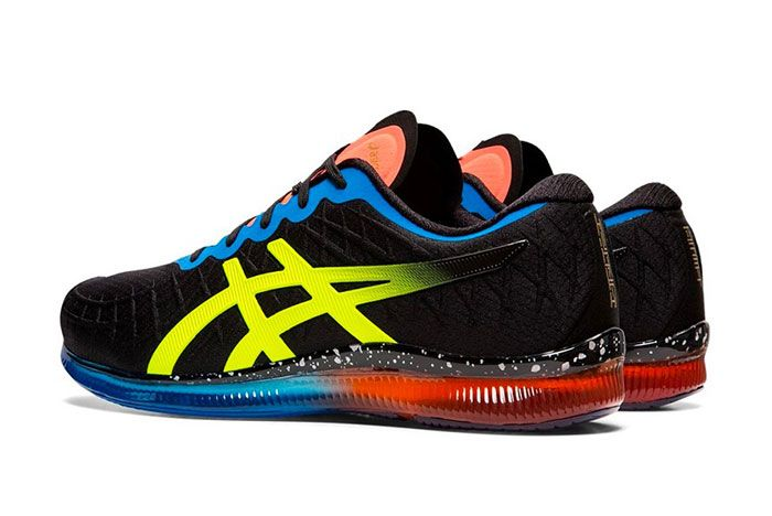 Asics Gel Quantum Infinity Red Blue Black Safety Yellow Heel