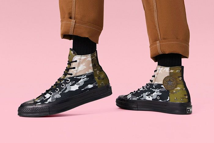 Converse Chuck 70 High Mixed Camo On Foot
