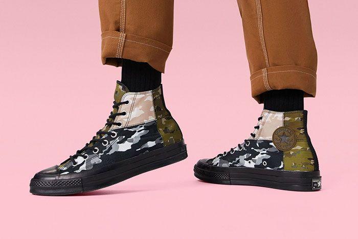 Converse Chuck 70 High Mixed Camo On Foot