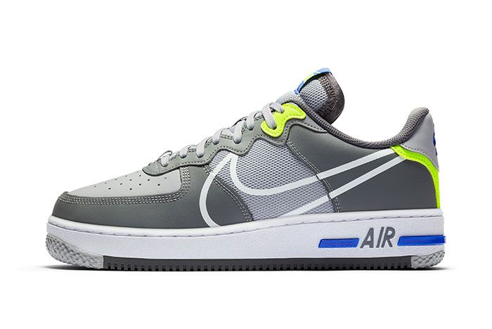 Nike Air Force 1 React Grey Heel Lateral
