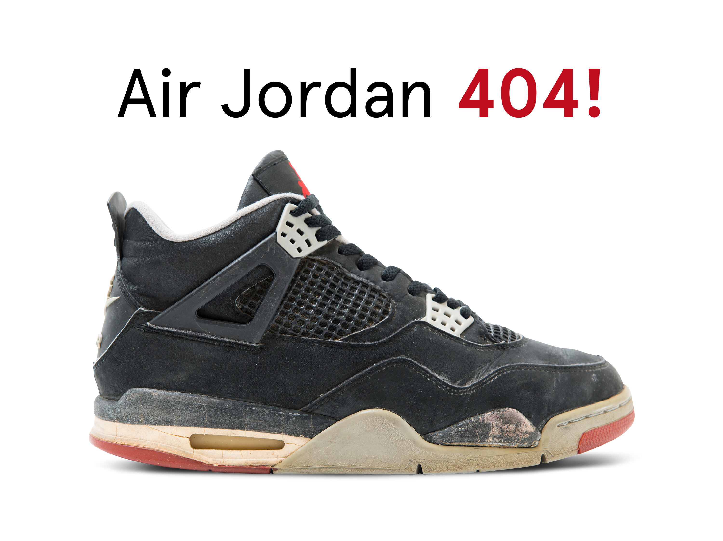 """An old shoe with the caption """"Air Jordan 404!"""""""