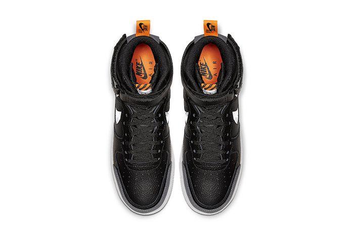 Nike Air Force 1 High Black Grey Orange Cq0449 001 Release Date Top Down