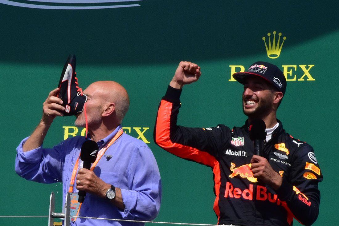 Patrick Stewart Daniel Ricciardo Shoey Formula One Canadian Grand Prix 2017