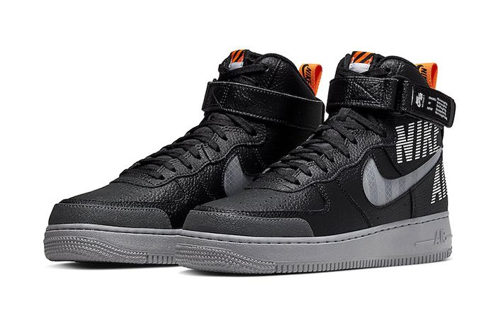 Nike Air Force 1 High Black Grey Orange Cq0449 001 Release Date Pair