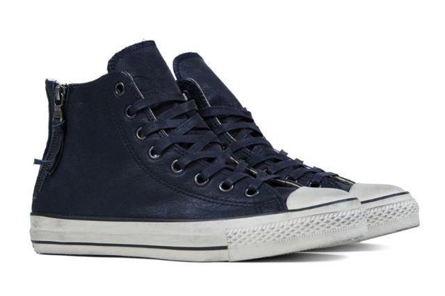John Varvatos X Converse Leather Double Zip High Navy6