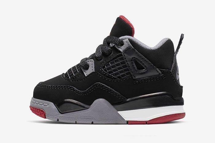 Air Jordan 4 Bred Toddler 1 Side