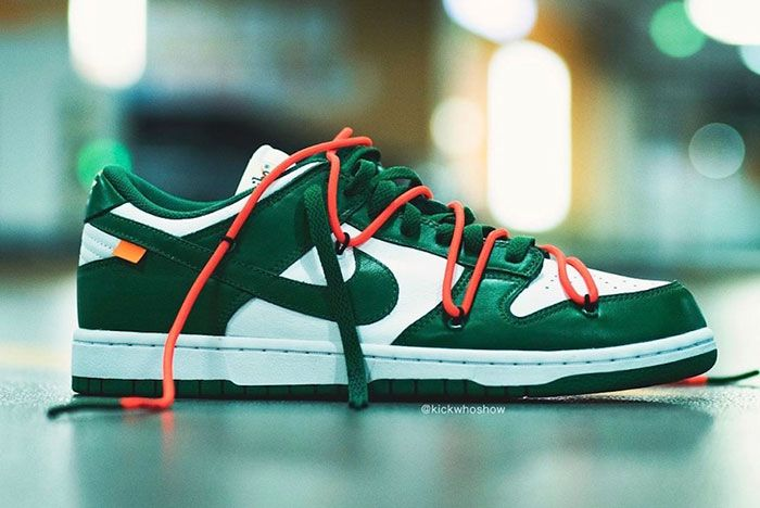 Off White Nike Dunk Low Pine Green Ct0856 100 On Foot Shot2