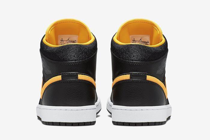 Air Jordan 1 Black Black University Gold Heels