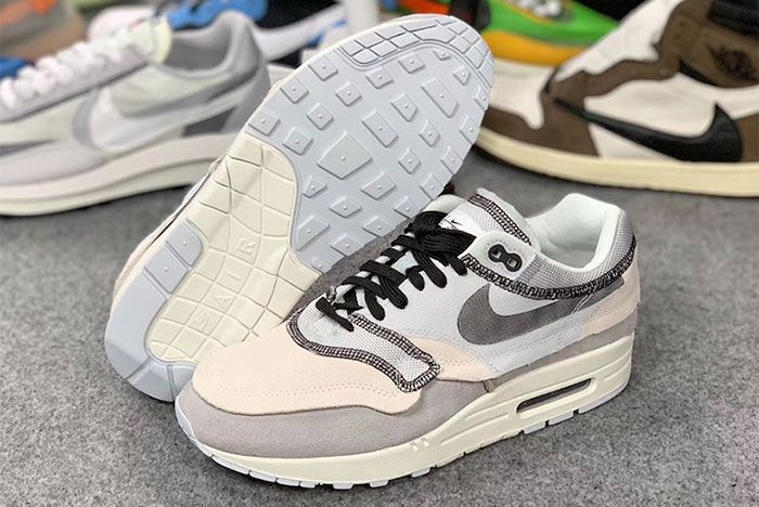Nike Air Max 1 Inside Out White Black Grey 8 Pair Sole
