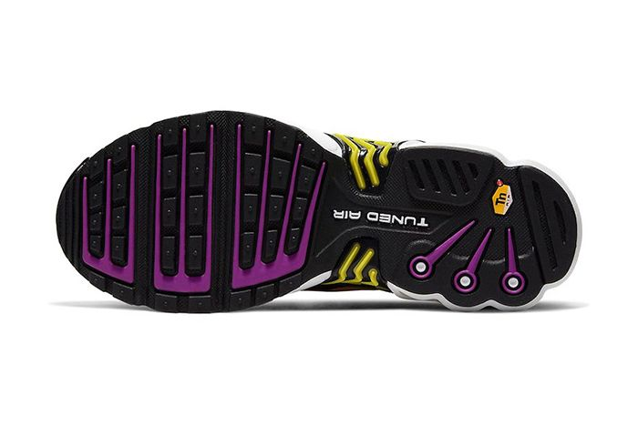Nike Air Max Plus 3 Black Hyper Purple Optic Yellow Cd6871 005 Release Date Outsole