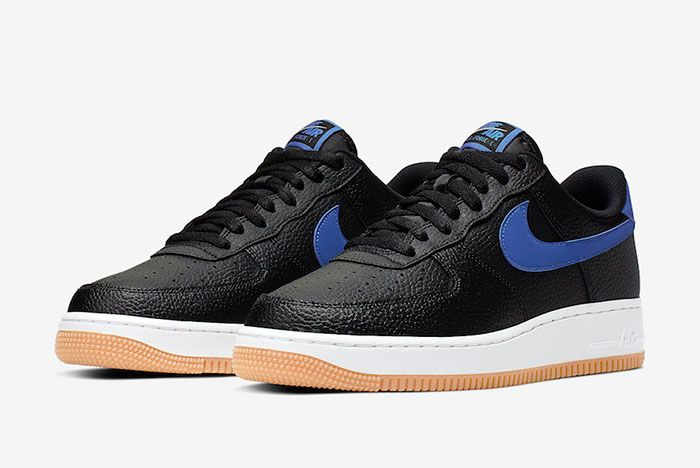 Nike Air Force 1 Black Game Royal Gum Ci0057 001 Front Angle