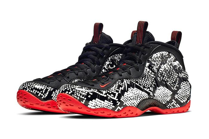 Nike Air Foamposite One Snakeskin Sail Black Habanero Red 314996 101 Release Date Pair