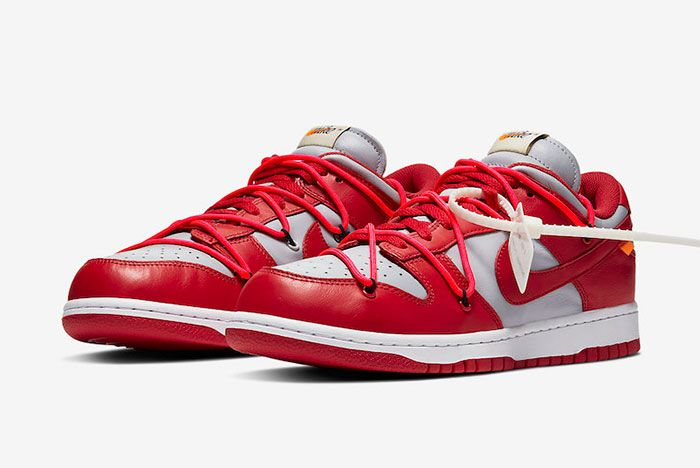 Off White Nike Dunk Low Red Grey Ct0856 600 Front Angle