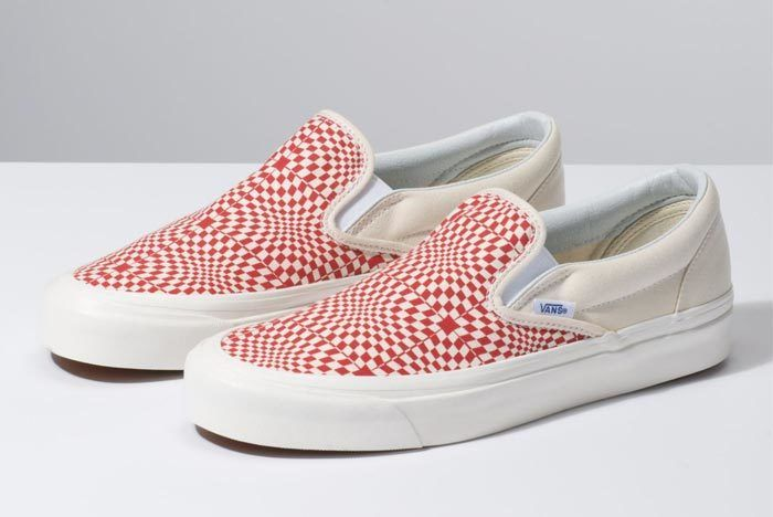 Vans Warp Check Slip On Red 1