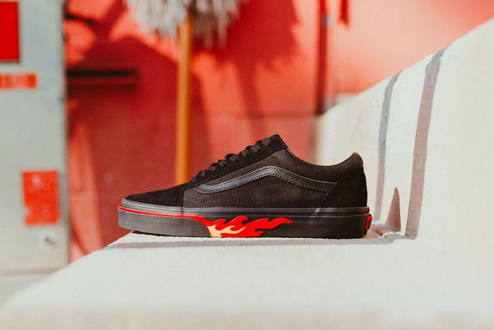 Vans Old Skool Flame Wall Black Blk Sneaker Freaker