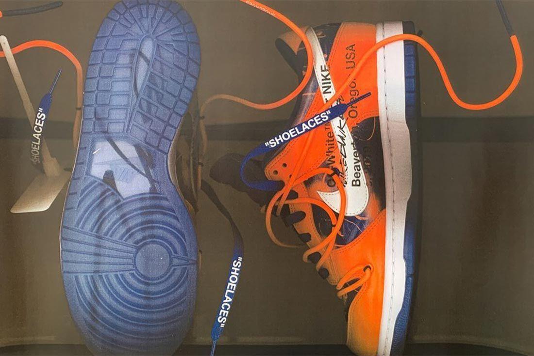 Virgil Abloh Nike Dunk Orange Medial Side Shot
