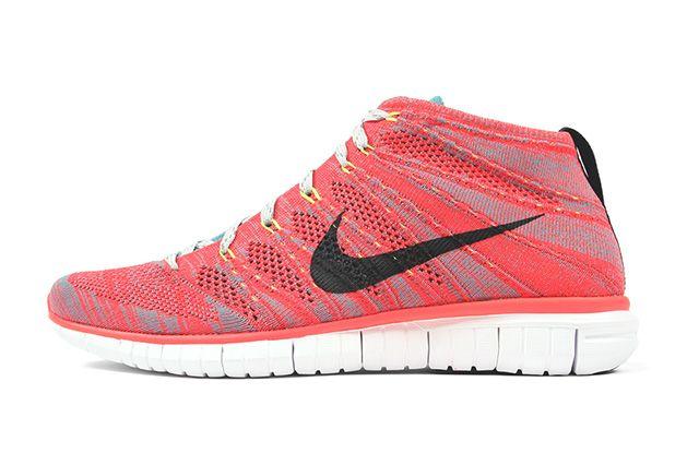 Nike Free Flyknit Chukka Bright Crimson Mineral Blue 4