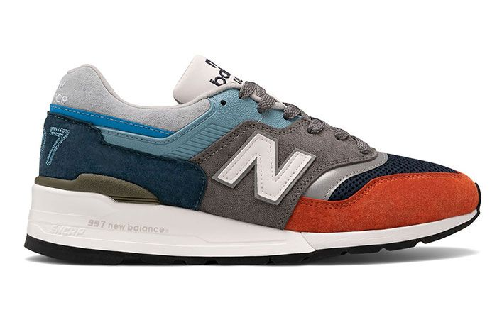 New Balance 997 Made In Usa Orange Navy Blue Lateral