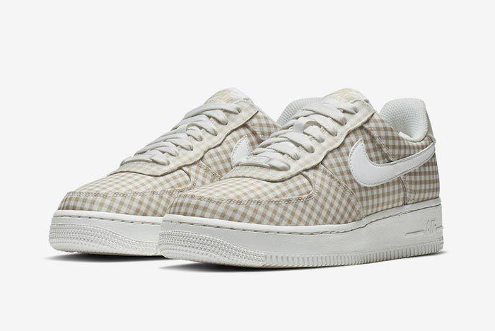 Nike Air Force 1 Gingham Pack Beige Pair