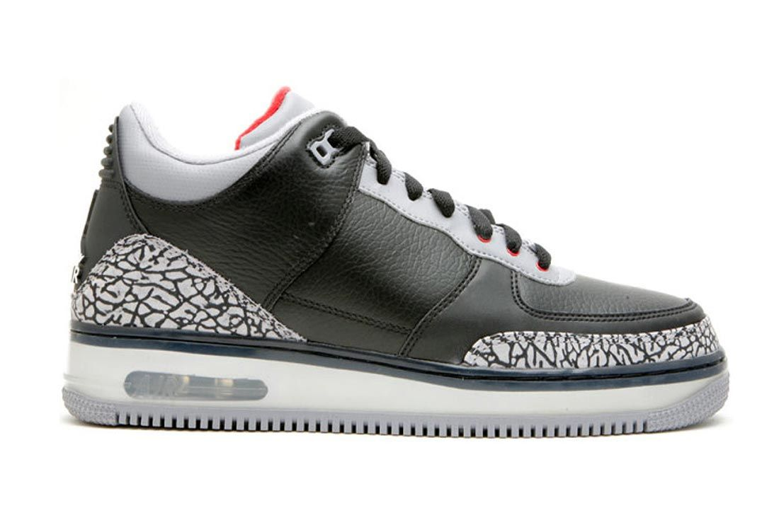 Air Jordan Force 3 Black Cement Lateral Side Shot