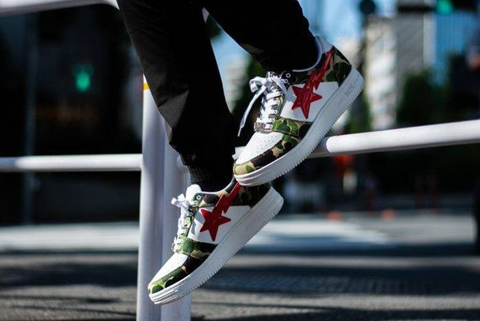 Bape Bapestar Low Green Camo On Foot Shot