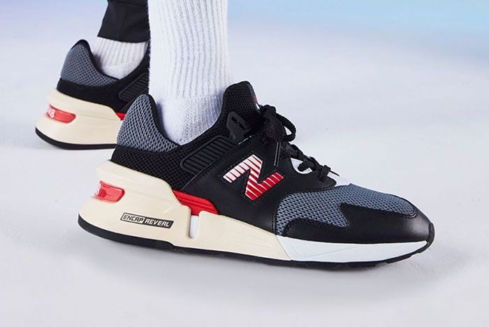 New Balance 997S Black With Red On Foot1