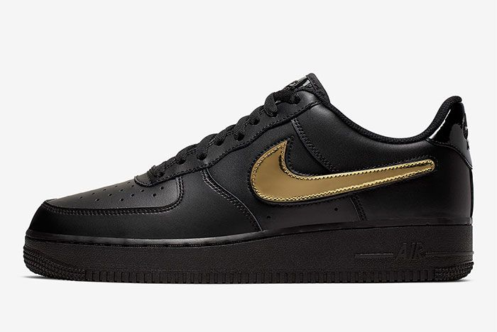 Nike Air Force 1 Removable Swoosh Pack Black Left