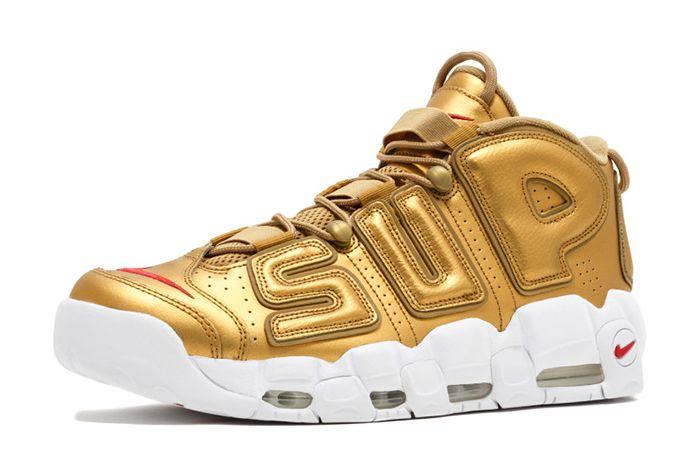 Supreme X Nike Air More Uptempo Metallic Gold4