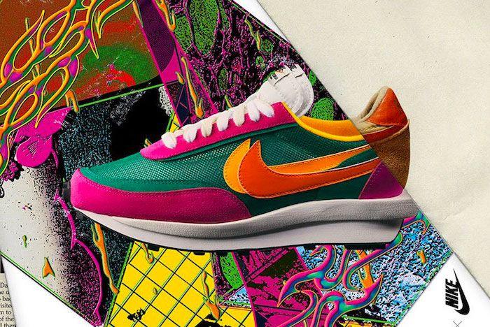 Sacai Nike Ld Waffle Pink Green Left