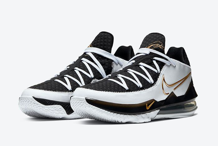 Nike Le Bron 17 Low White Black Metallic Gold Cd5007 101 Front Angle
