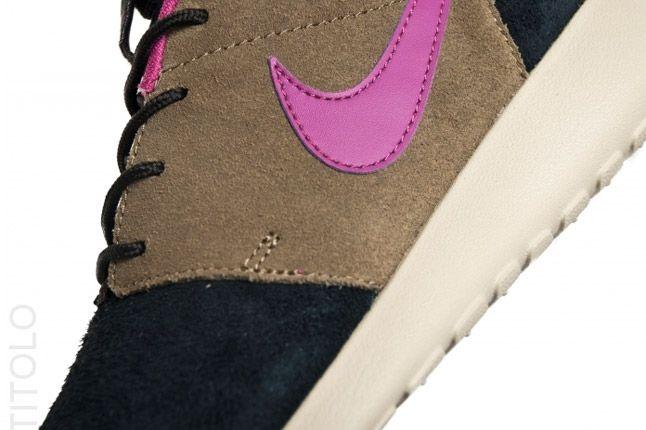 Nike Wmns Roshe Run Black Olive Rave Pink Swoosh 1