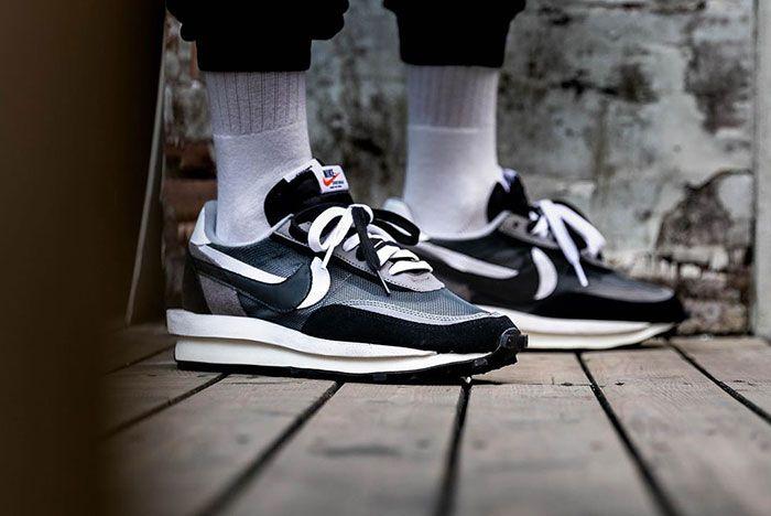 Sacai Nike Ldwaffle Black White Grey On Foot4