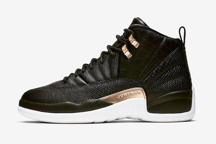 Air Jordan 12 Black Reptile Metallic Gold Ao6068 007 Left