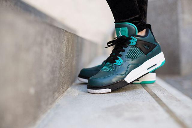 Air Jordan 4 Teal On Foot 6