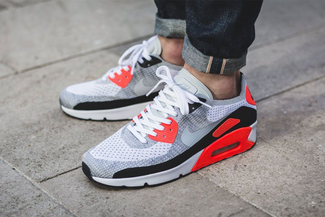 Nike Air Max 90 Ultra 2 0 Flyknit Infrared Three Quarter Lateral Side Shot