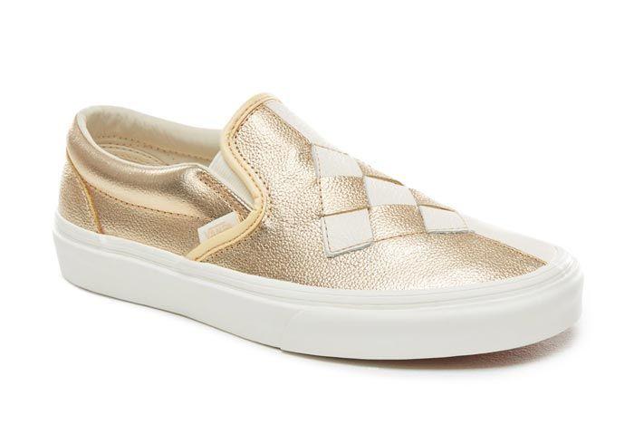 Vans Slip On Woven Brushed Gold Front