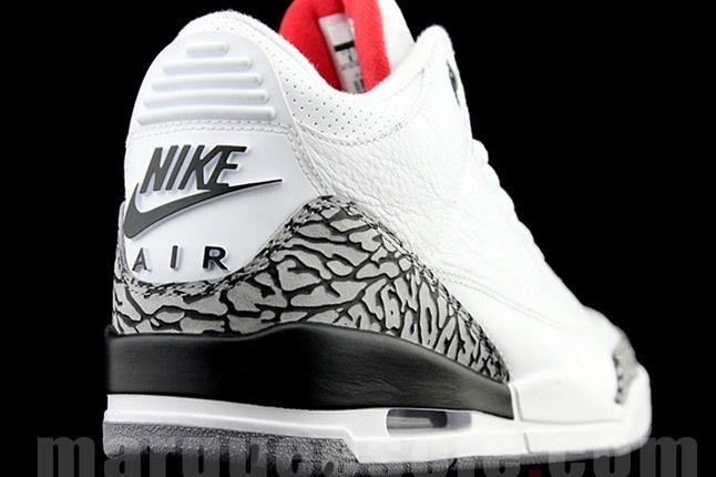 Air Jordan 3 Retro White And Elephant Print Lateral Heel 1