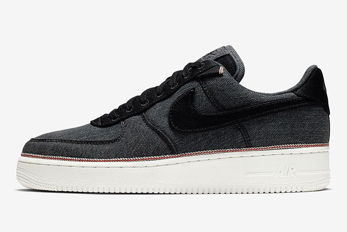 Nike Air Force 1 Denim Black Left