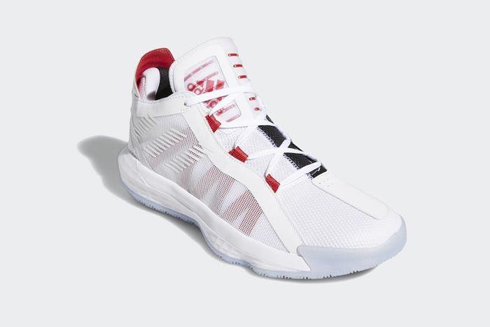 Adidas Dame 6 Cloud White Scarlet Black Front