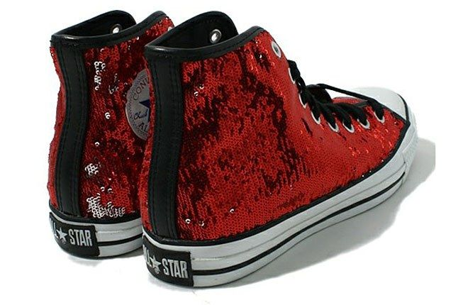 Red Sequin Converse Sneaker 1