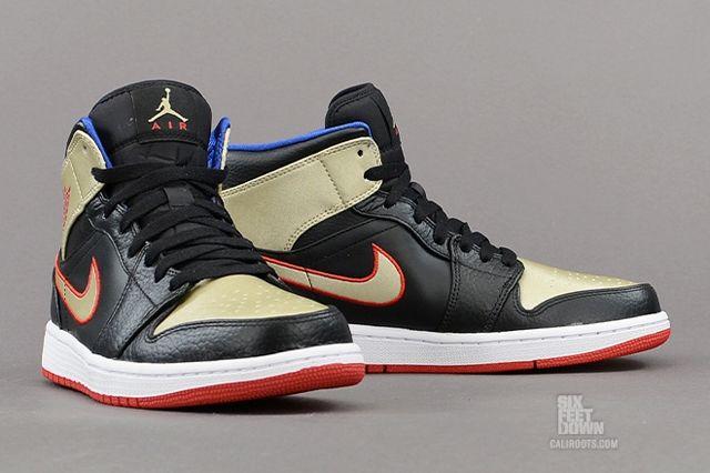 Air Jordan 1 Mid Black Gold Red 3
