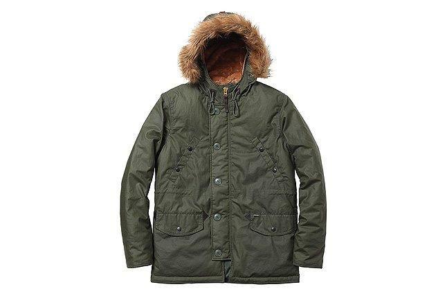 Supreme Green Waxed Cotton Jacket Wool Hood 1